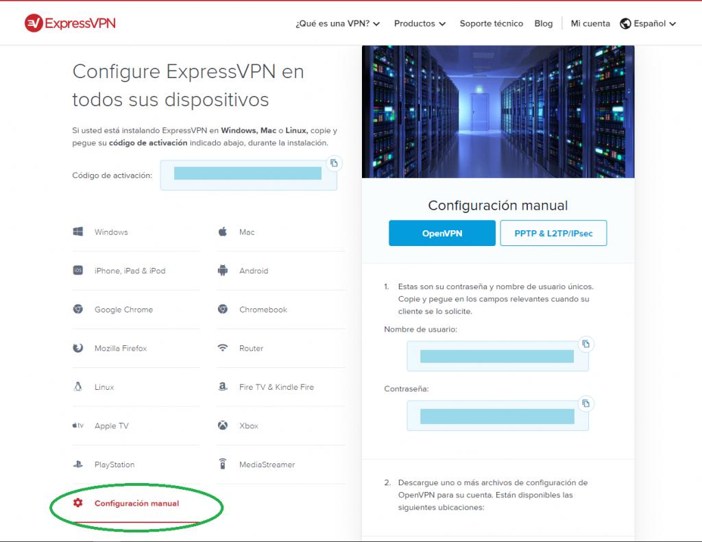 Configuración ExpressVPN