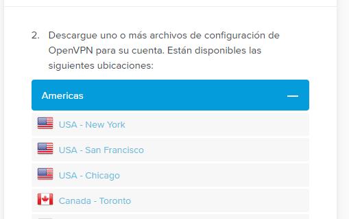 ExpressVPN Selección de continente y ciudad de salida