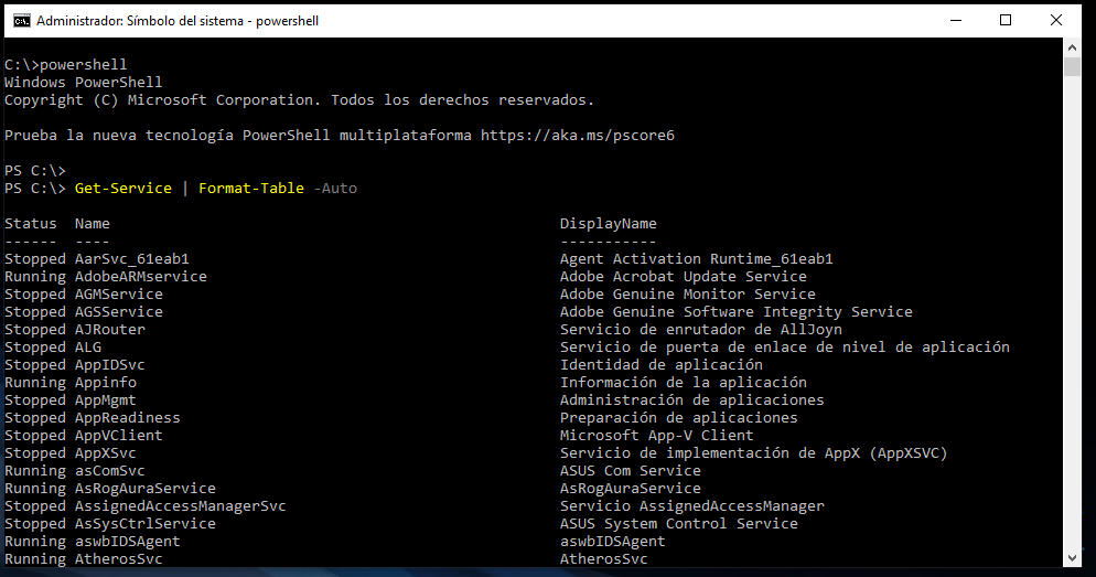 CMD - Powershell, Services list