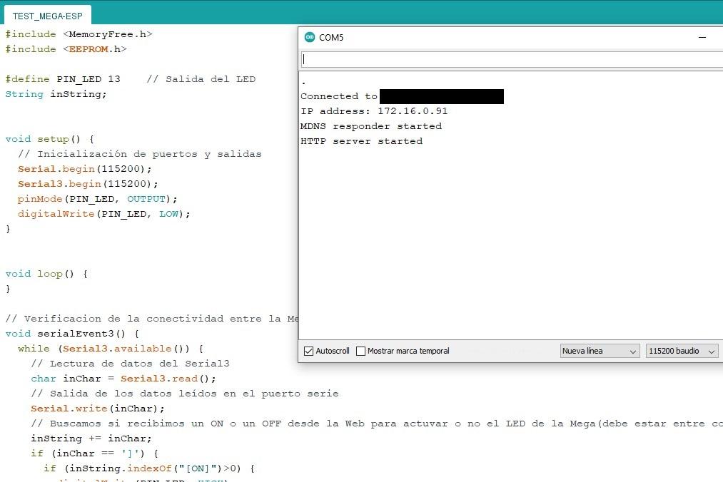 Arduino IDE con el monitor mostrando la publicación de un webserver