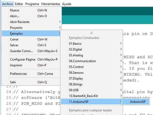 Ejemplo Arduino Ide ArduinoISP
